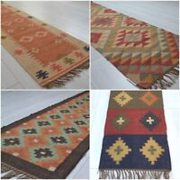 Kilim Hall Runner Indian Jute Wool Hand Knotted 180x60cm 6x2ft Geometric