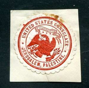 x01 - USA Consulate in JERUSALEM Palestine Cover Seal / Label on Piece