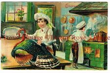 1908 Thanksgiving Greetings child butchering a turkey Saxony 741