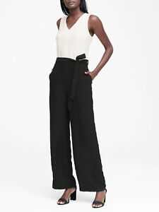 Banana Republic V-Neck Tie-Waist Jumpsuit, Black White SZ 8T   #405371 N0131