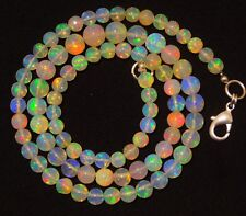 """Natural Ethiopian Opal Ultimate Quality Rainbow Fire Round Beads Necklace 16.5"""""""