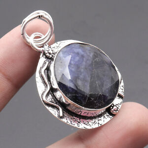 """Sapphire, 925 Solid Sterling Silver Gemstone Pendant 1.9 """", USA8886"""