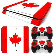HQ Adesivo Vinile Set = per PS4 SLIM CONSOLE +2 Controller-Bandiera Canadese Foglia d'acero