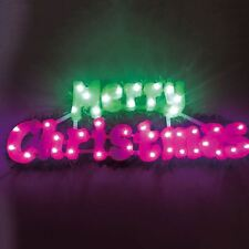 40 LED Flashing Merry Christmas Sign Light Up With Green Garland Trim