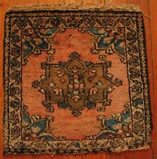 Antique Malayer Square Mat Handwoven Pile Rug Early 20th Century Good Condition