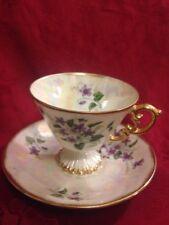Vintage Luster Cup & Saucer Set Violets February