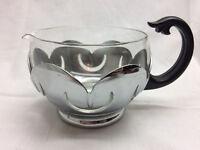 Vintage Chrome Art Deco Creamer Serving Cup Plastic Handle Glass Insert
