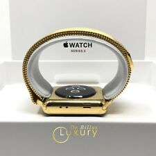 24K Placcato Oro 42mm Apple Orologio SERIES 3 CON Milanese Loop Band GPS + LTE