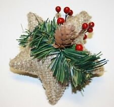 Designer's Excellence Star Pine Cone Berry Burlap Christmas Tree Ornament 4,5""