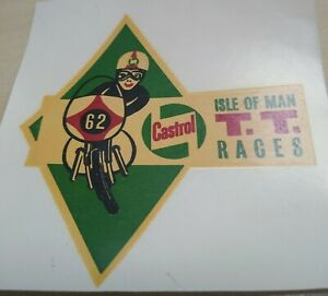 Isle of Man TT Races 1962 / Castrol - Original NOS Water Transfer Sticker