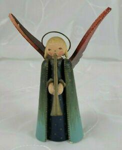 """Vintage wood Erzgebirge angel, Wendt& Kuhn, horn, 5"""", weathered patina, rare"""