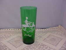 Forest Green Beverage Glass Gas Buggy Imprint is White Anchor Hocking Used