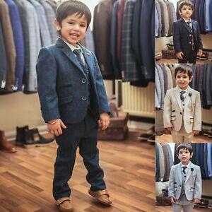 Boys Cavani Premium Kids Childrens Tweed Check Navy Blue Wedding 3 Piece Suit