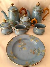 11 PC MacKENZIE CHILDS BLUE ROSE PATTERN ENAMELWARE SET~STACK TEAPOTS~BOWL~CUPS