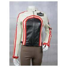 Ladies Black White Napa Leather Slim Tight Fitted Short Biker Race Jacket Bike