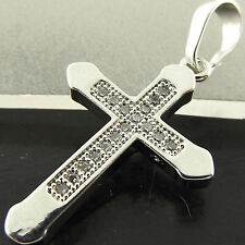 PENDANT CROSS GENUINE REAL 18K WHITE G/F GOLD DIAMOND SIMULATED PAVE SET DESIGN