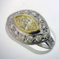 1.73 carat 1.01 ct GIA VS1 Marquise Diamond L Fancy Yellow Platinum Antique Ring