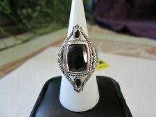 Black Jade Sterling Silver Ring (Size 7) TGW 6.50 cts.