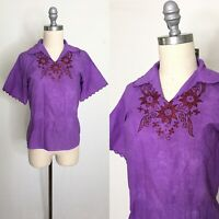 Vintage 70s Embroidered Purple Top Size Medium