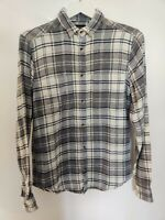 Farrell Men Shirt Blue White Check Print Casual Cotton Button Long Sleeve Size S