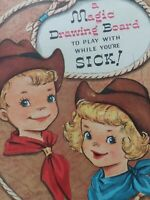 Vtg Magic Slate Drawing Board COWBOY Cow GIRL FUNNY FACE Get Well GREETING CARD