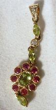 9ct yellow gold diamond, garnet and peridot drop pendant, used, second hand