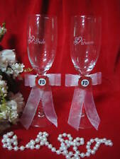 Wedding Reception Fireman Firefighter Bride & Groom Toasting Glasses 2 Psc Set