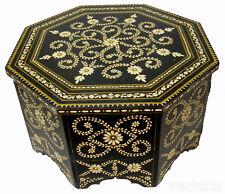 80x80 cm antik-look orient Teetisch Tisch Couchtisch schwarz & weiß coffee table