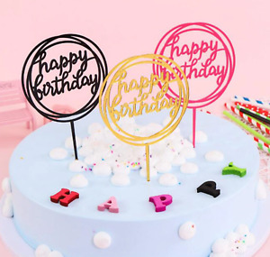 Acrylic Happy Birthday Cake Topper Decoration Pick 8 Styles Gold | Black | Pink