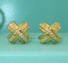 Tiffany & Co 18k Yellow Gold Diamond Signature X Earrings