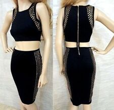 NWT bebe black 2 peices stud embellished cutout midi top bodycon dress S small 4