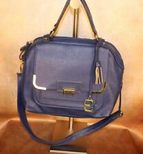 ELLEN TRACY ROYAL BLUE LEATHER MEDIUM SIZED PURSE WITH TASSEL AND LETTERED CHARM