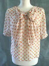 Monsoon Fusion Ladies White Orange Polka Dot Dotty Bow Top Blouse Size 8