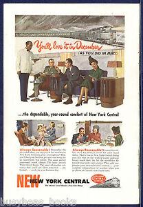 1947 NEW YORK CENTRAL RR advertisement, NYC, Club Car interior