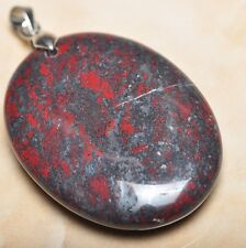 """Silver Clasp 2"""" Pendant #P08947 Extremely Red Natural Bloodstone 925 Sterling"""
