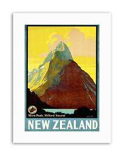 Nueva Zelanda Milford Sound Mitre pico de Lona de viaje de imagen de póster de montaña Arte