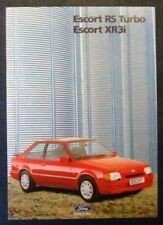 FORD ESCORT RS TURBO & XR3i Car Sales Brochure Oct 1989 ITALIAN TEXT