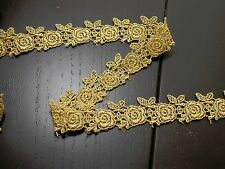 "Venise Lace 1"" (25mm) Metallic Gold Rose design 5 Yards FREE US SHIP"