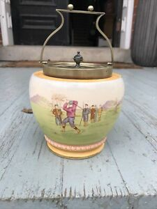 Rare antique golf Pottery Humidor W. Wood And Co. Circa 1895 Men & Lady Golfers