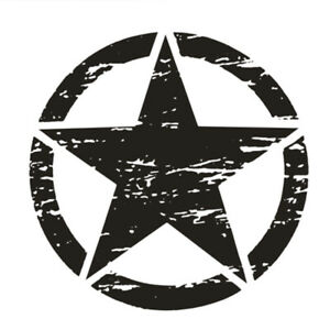 Vinyl Black Car Stiker Distressed Army Military Star Hood Decal 50x50cm Washable