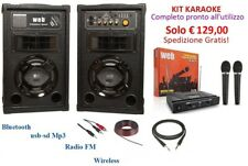 IMPIANTO AUDIO KARAOKE CASSE AMPLIFICATE ATTIVE BLUETOOTH USB MICROFONO WIRELESS