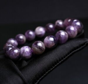 11.9mm Natural Purple Amethyst Crystal Beads Bracelet AAAA