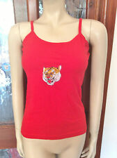 NEW Tiger Patch Design Red Vest Top Size L Summer Holidays Beach 271