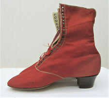 Genuine Victorian Red Silk Lace Up Shoes Boots Antique