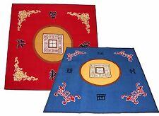 "31"" Slip Slide Resistant Mahjong Domino Card Gaming Table Cover Red + Blue Mats"