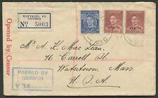 Australian Aerophilately: 1939 Nov.15 censored registered cover, Hawthorn - USA