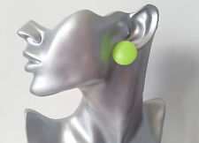 "1 pair of big & fab NEON GREEN 1"" flat plastic button style stud earrings - NEW"