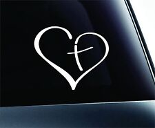 """Heart with Cross Bible Christian Symbol Decal Funny Car Truck Sticker Window 6"""""""