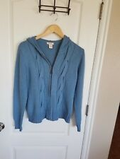 "Sundance L 38"" to 42""Bust Blue-Gray Zip Hoodie Sweater LS Stretchy Cotton LN"
