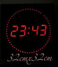 LED Horloge murale avec datum- température et DWS Rond Affichage des secondes XL